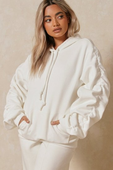 Cream Oversized Ruched Arm Hoodie