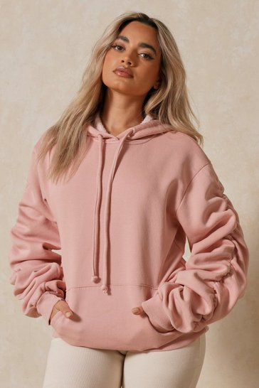 Mauve Oversized Ruched Arm Hoodie