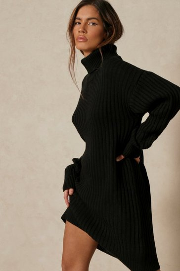 Black Oversized Knitted High Neck Sweater Dress