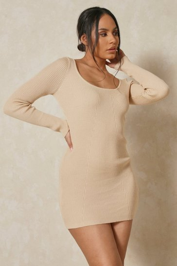 Stone Knitted Seam Detail Cupped Mini Dress