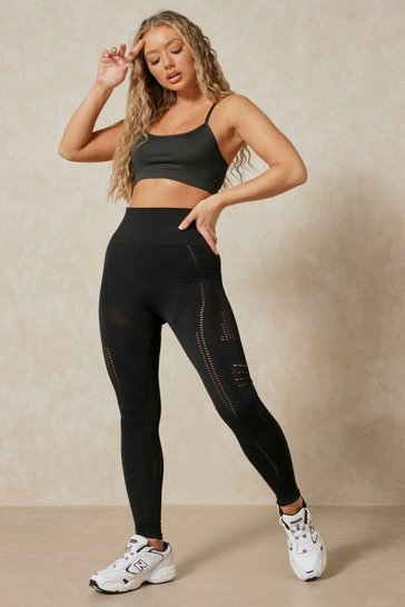 Black Seamless Laser Cut Detail Legging
