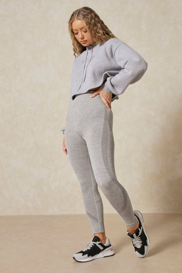 Grey Seamless Contrast Trim Detail Leggings