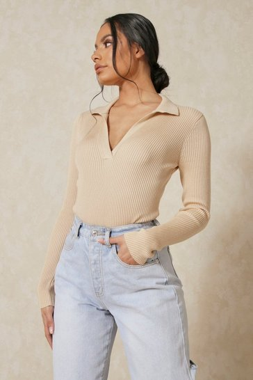 Biscuit Knitted Collared Bodysuit