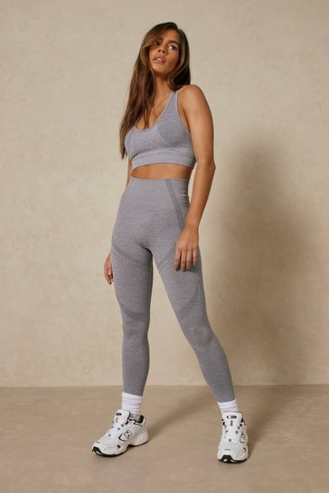 Light grey Seamless Crop Top Legging Set