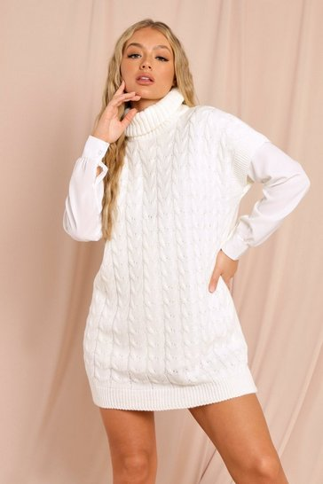 Cream Oversized Cable Knit Tank Jumper