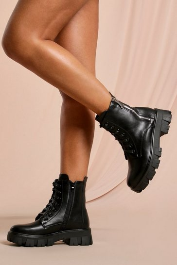 Black Zip Detail Chunky Ankle Boot