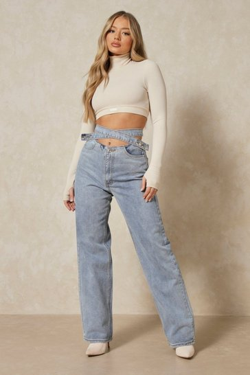 Vintage wash Wrap Detail Waistband Straight Leg Jean