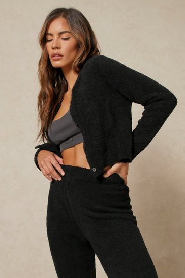 Black Cosy Knit Button Detail Cropped Cardigan