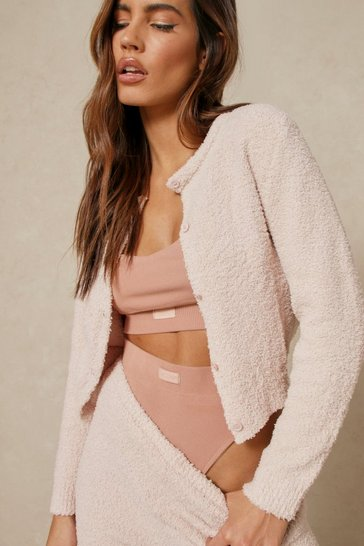 Camel Cosy Knit Button Detail Cropped Cardigan