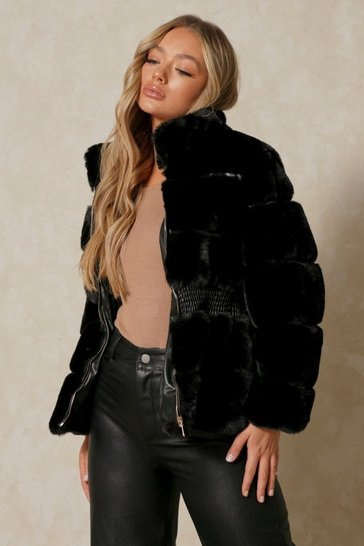 Black Faux Fur Elastic Waist Detail Coat