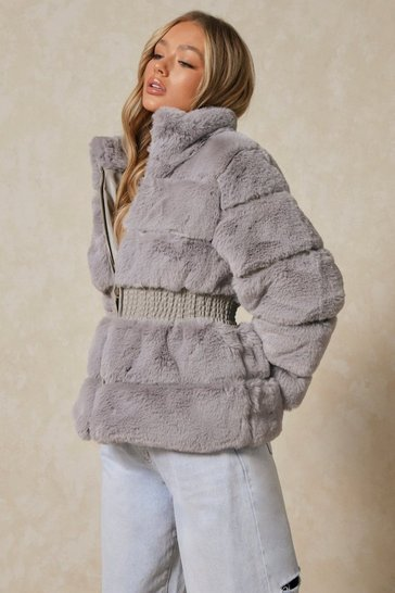 Grey Faux Fur Elastic Waist Detail Coat