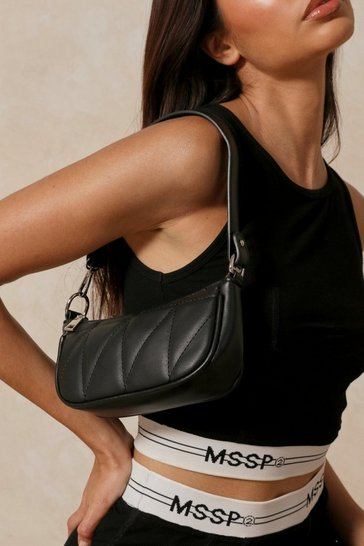 Black Leather Look Quilted Shoulder Bag