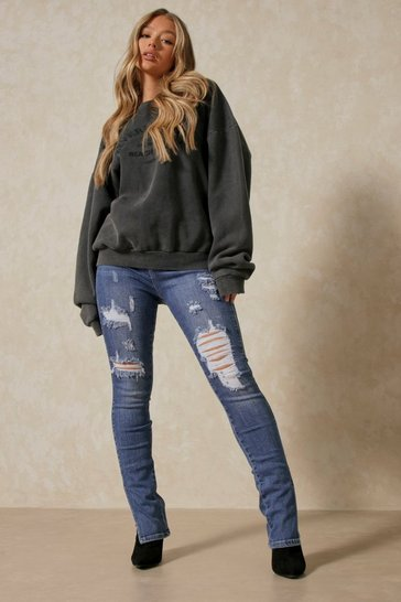 Blue Split Front Distressed Skinny Jean
