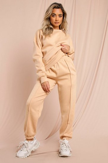 Camel Sweater And Pinstripe Joggers Lounge set
