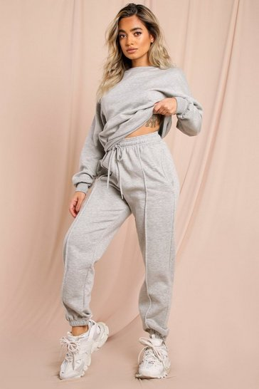 Grey Sweater And Pinstripe Joggers Lounge set