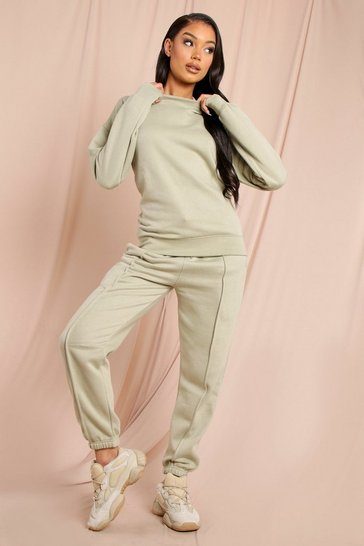 Sage Sweater And Pinstripe Joggers Lounge set