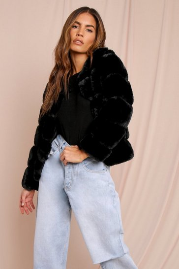 Black Faux Fur Layered Crop Jacket