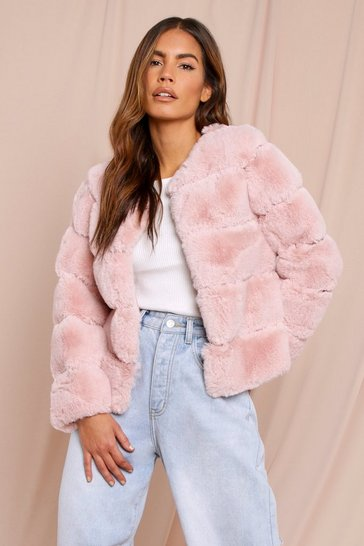 Blush Faux Fur Layered Crop Jacket