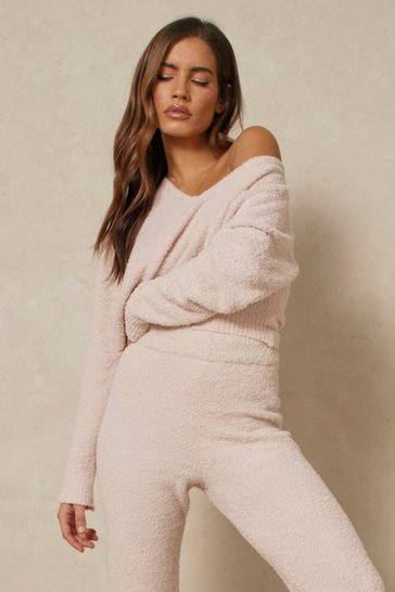Camel Cosy Knit V Neck Cropped Jumper