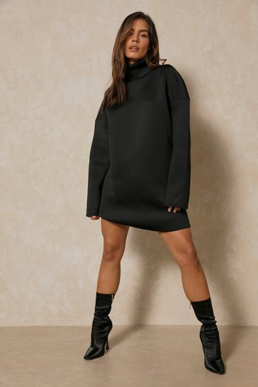 Black Oversized Turtle Neck Oversized Scuba Dress