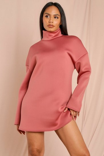 Salmon Oversized Turtle Neck Oversized Scuba Dress