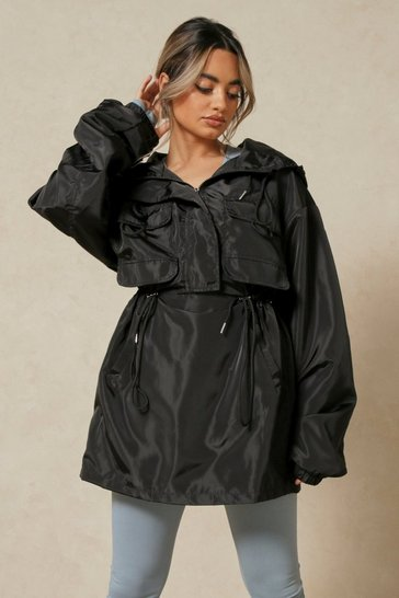 Black Drawstring Detail Hooded Windbreaker Jacket