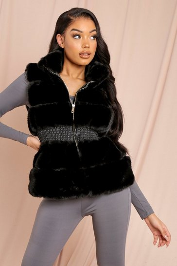 Black Faux Fur Sleeveless Gilet Jacket