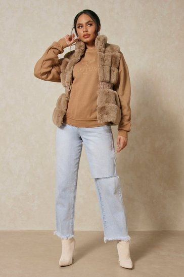 Camel Faux Fur Sleeveless Jacket