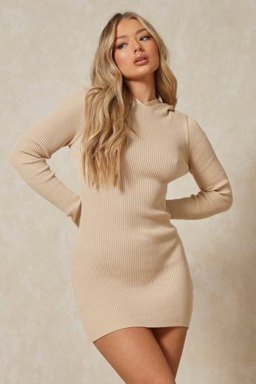 Stone Rib Knit Hooded Thumbhole Mini Dress