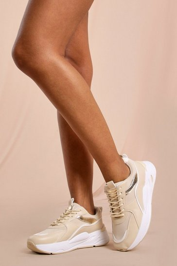 Nude Chunky Metallic Detail Trainers