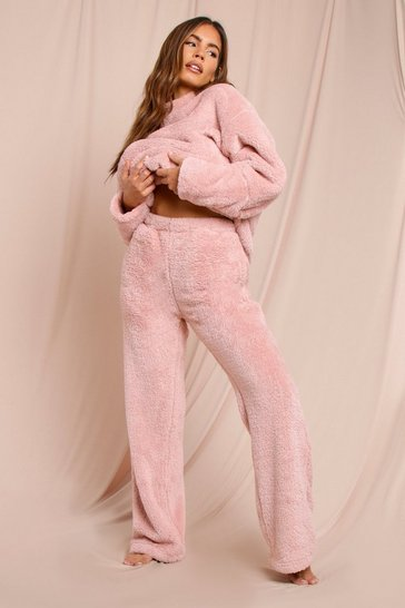 Blush Teddy Wide Leg Pj Bottoms