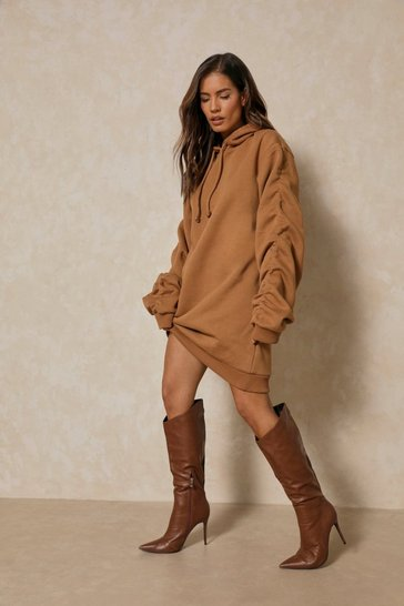 Camel Ruched Arm Sweater Dress