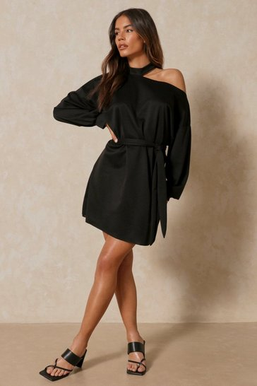 Black Raw Hem Cut Out Detail Belted Sweatshirt Dress
