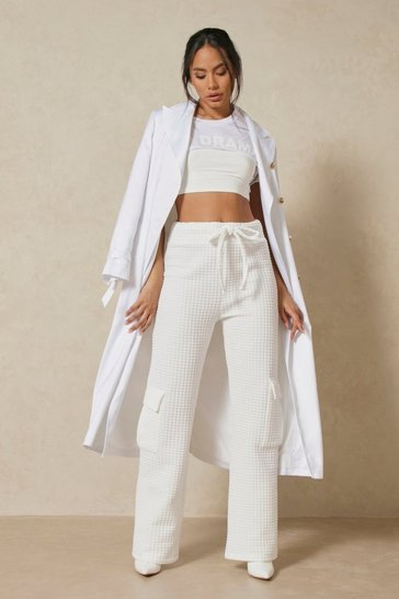 Cream Waffle Pocket Detail Wide Leg Jogger