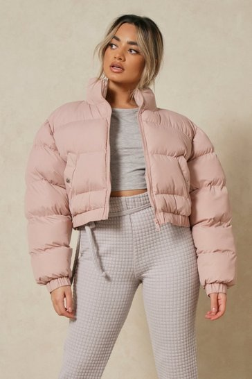 Dusky pink Funnel Neck Cropped Puffer Jacket