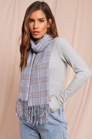 Grey Small Checked Blanket Scarf