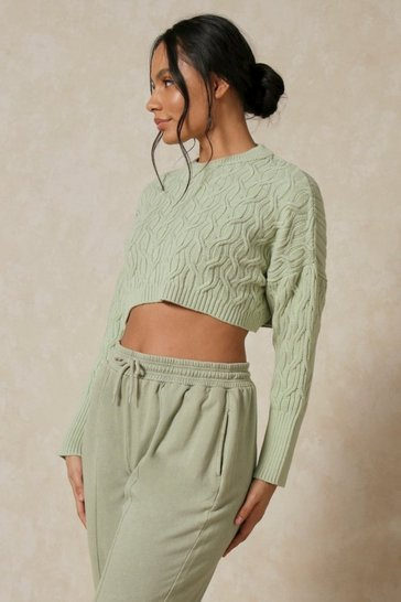 Mint Cable Knit Crop