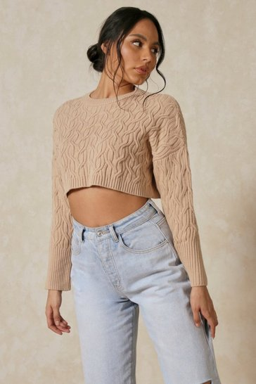 Stone Cable Knit Crop