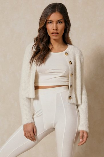 Cream Fluffy Yarn Crop Cardigan
