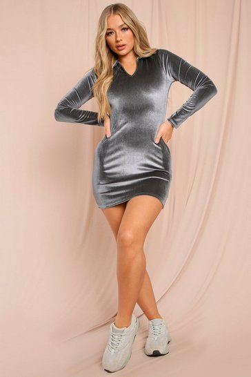 Grey Velour Collared Long Sleeve Mini Dress
