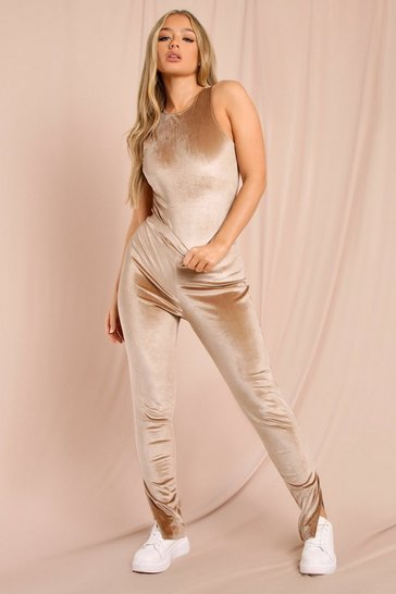 Taupe Velour High Waist Split Hem Legging
