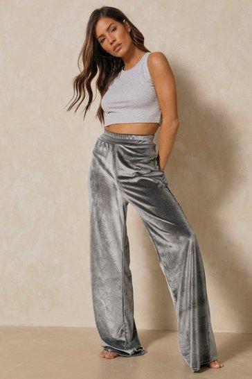 Grey Velour High Waisted Wide Leg Trouser