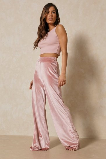 Rose Velour High Waisted Wide Leg Trouser