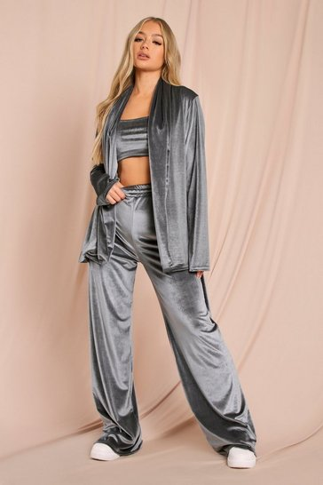 Grey Velour Tie Waist Shirt Robe
