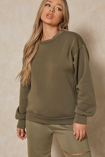 Khaki Basic Oversized Sweatshirt