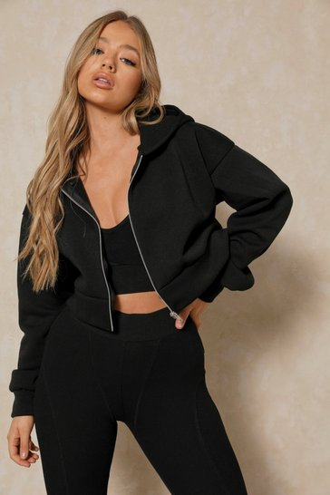 Black Basic Oversized Crop Zip Through Hoodie
