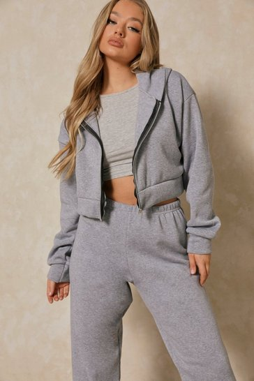 Grey Basic Oversized Crop Zip Through Hoodie