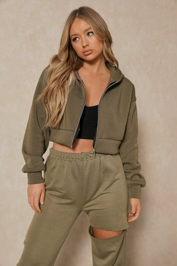 Khaki Basic Oversized Crop Zip Through Hoodie