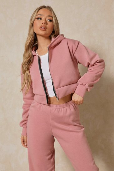 Rose Basic Oversized Crop Zip Through Hoodie