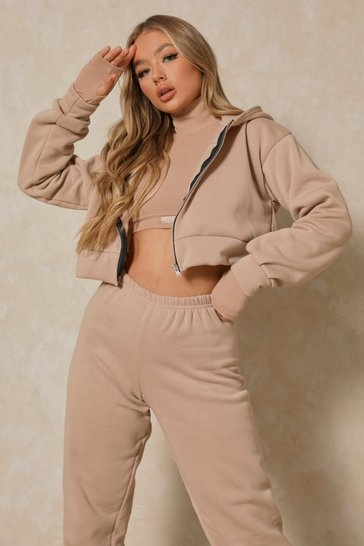 Stone Basic Oversized Crop Zip Through Hoodie